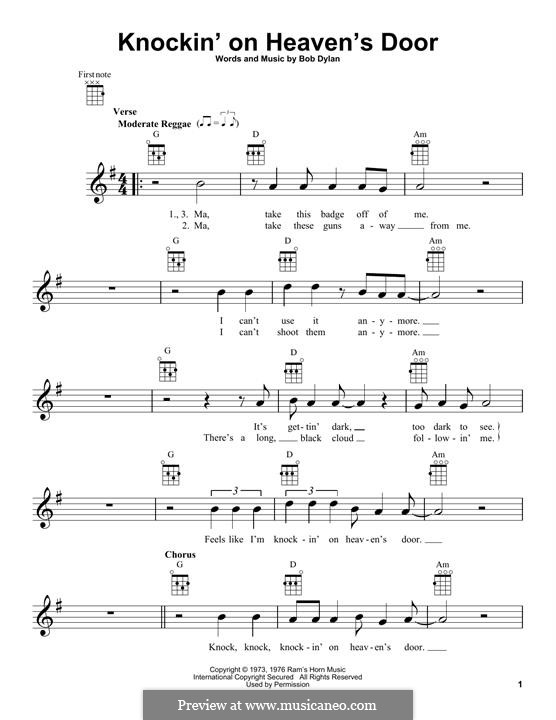 Knockin' on Heaven's Door: para ukulele by Bob Dylan