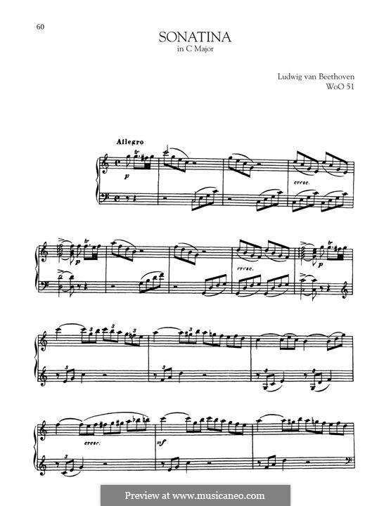 Sonata for Piano in C Major, WoO 51: para um único musico (Editado por H. Bulow) by Ludwig van Beethoven