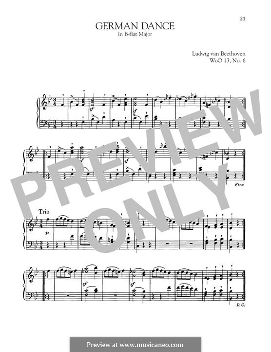 Twelve German Dances, WoO 13: German Dance No.6 by Ludwig van Beethoven