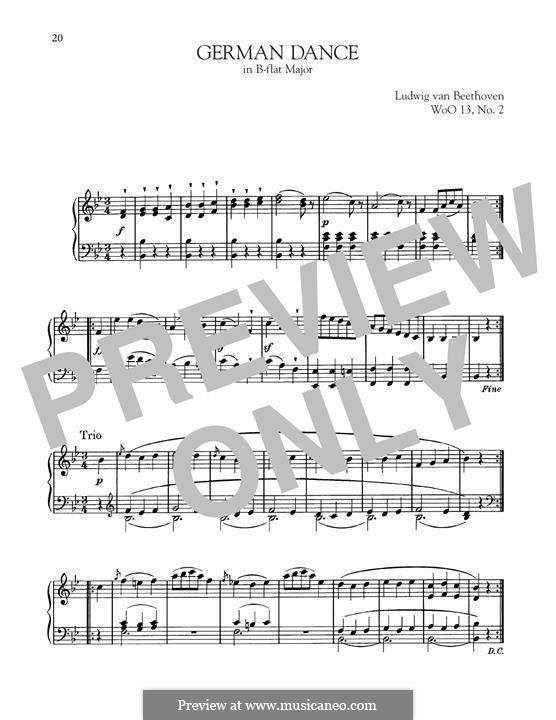 Twelve German Dances, WoO 13: German Dance No.2 by Ludwig van Beethoven