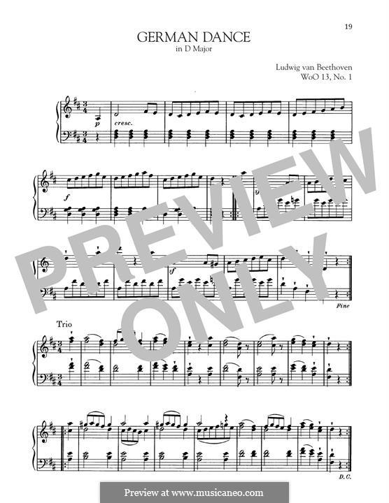 Twelve German Dances, WoO 13: German Dance No.1 by Ludwig van Beethoven
