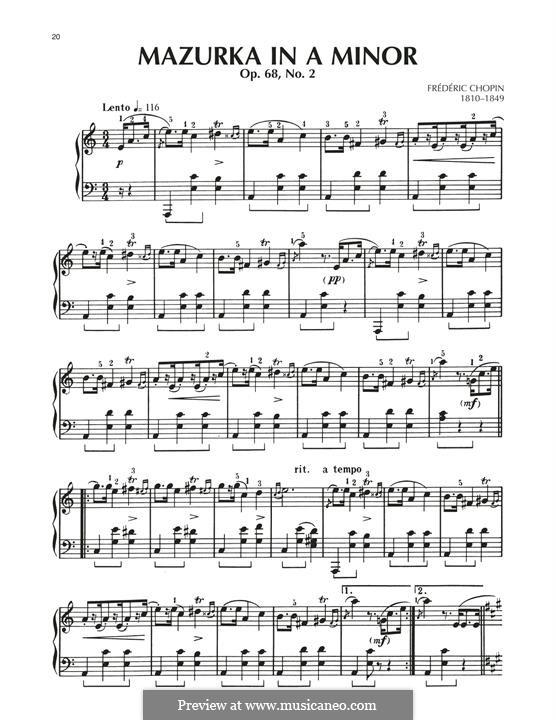 Mazurkas, Op. posth.68: No.2 em A menor by Frédéric Chopin