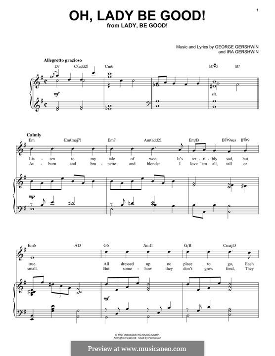 Oh, Lady, Be Good: For voice and piano (jazz version) by George Gershwin