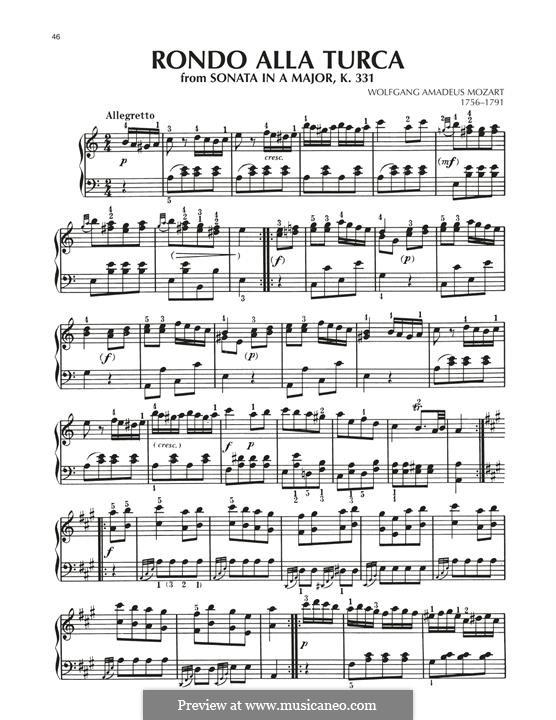 Rondo alla turca (Printable Scores): Facil para o piano by Wolfgang Amadeus Mozart