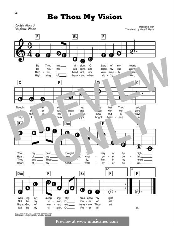 Be Thou My Vision (Printable scores): Facil para o piano by folklore