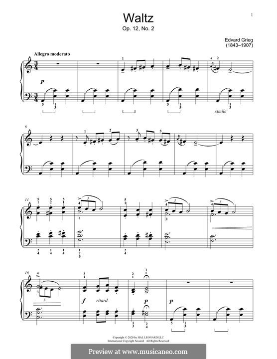 Lyric Pieces, Op.12: Valsa No.2 by Edvard Grieg