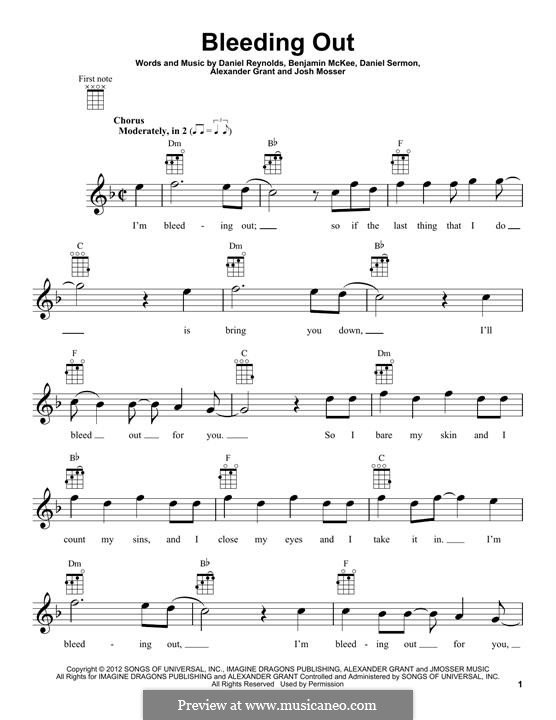 Bleeding Out (Imagine Dragons): para ukulele by Alexander Grant, Benjamin McKee, Daniel Reynolds, Daniel Sermon, Josh Mosser
