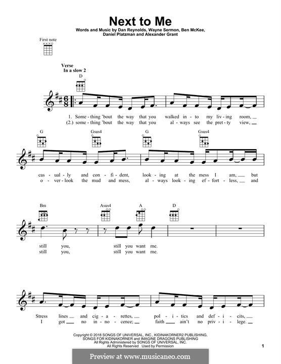 Next To Me (Imagine Dragons): para ukulele by Alexander Grant, Benjamin McKee, Daniel Reynolds, Daniel Platzman, Wayne Sermon