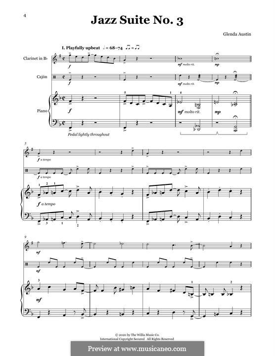 Jazz Suite No.3: For clarinet, cajon and piano by Glenda Austin