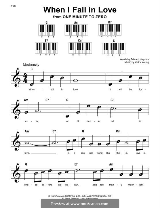 When I Fall in Love (Celine Dion): Facil para o piano by Victor Young