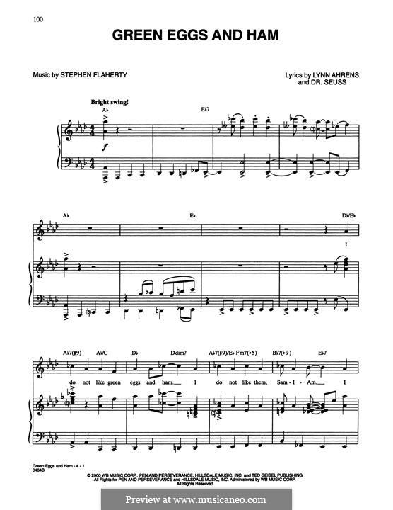 Green Eggs and Ham (Dr. Seuss): Para vocais e piano by Stephen Flaherty