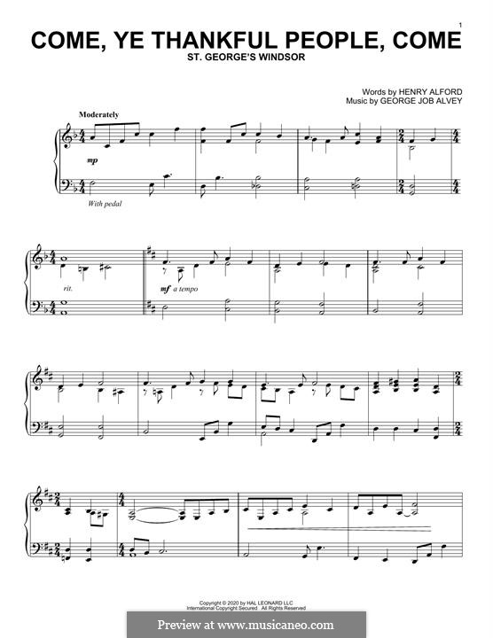 Come, Ye Thankful People, Come: Facil para o piano by George Job Elvey