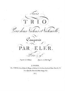 Three Trios for Two Violins and Cello: violino parte II by André-Frédéric Eler