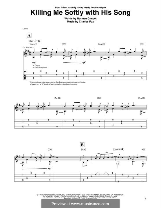 Killing Me Softly with His Song: Para Guitarra by Charles Fox