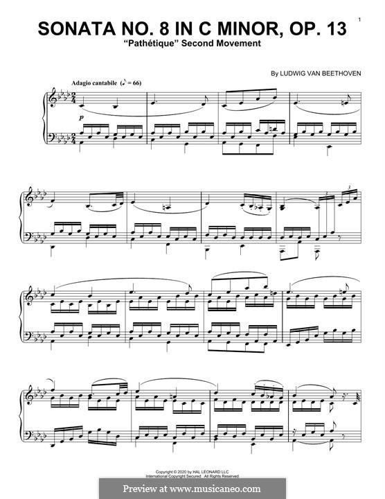 Movement II (Printable scores): Para Piano by Ludwig van Beethoven