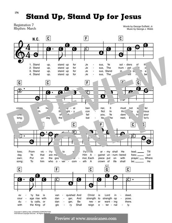 Stand Up for Jesus: Para Piano by George James Webb