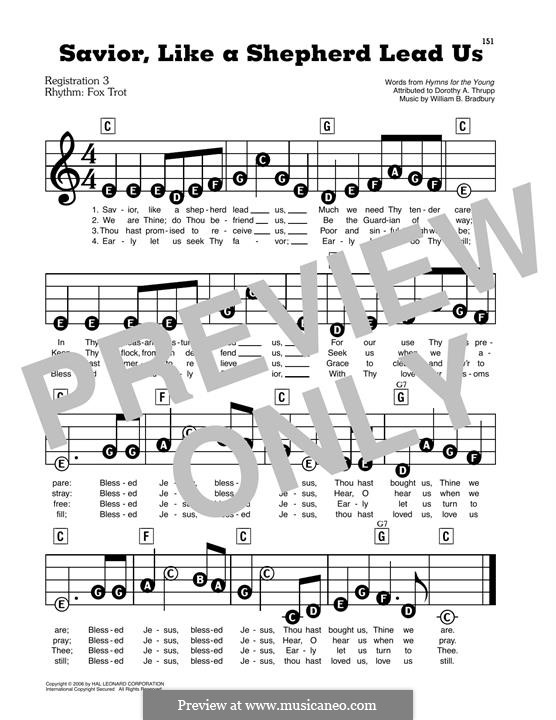 Savior, Like a Shepherd Lead Us: Facil para o piano by William Batchelder Bradbury