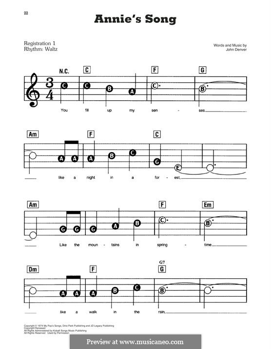 Annie's Song: Facil para o piano by John Denver