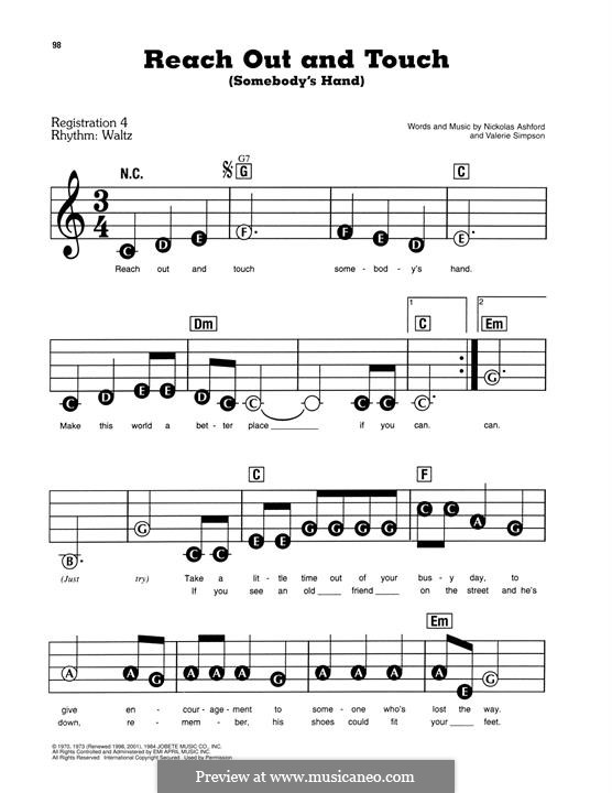 Reach Out and Touch (Somebody's Hand): Facil para o piano by Nicholas Ashford, Valerie Simpson