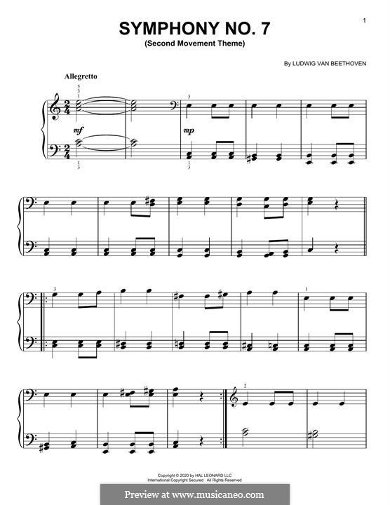 Movement II: tema para piano by Ludwig van Beethoven