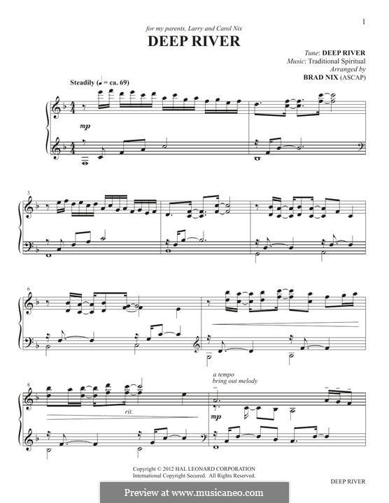 Deep River: Facil para o piano by folklore
