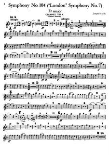 Symphony No.104 in D Major 'London', Hob.I/104: clarinete parte I by Joseph Haydn