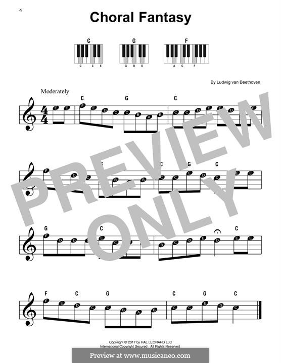Fantasia in C Minor, Op.80: tema para piano by Ludwig van Beethoven