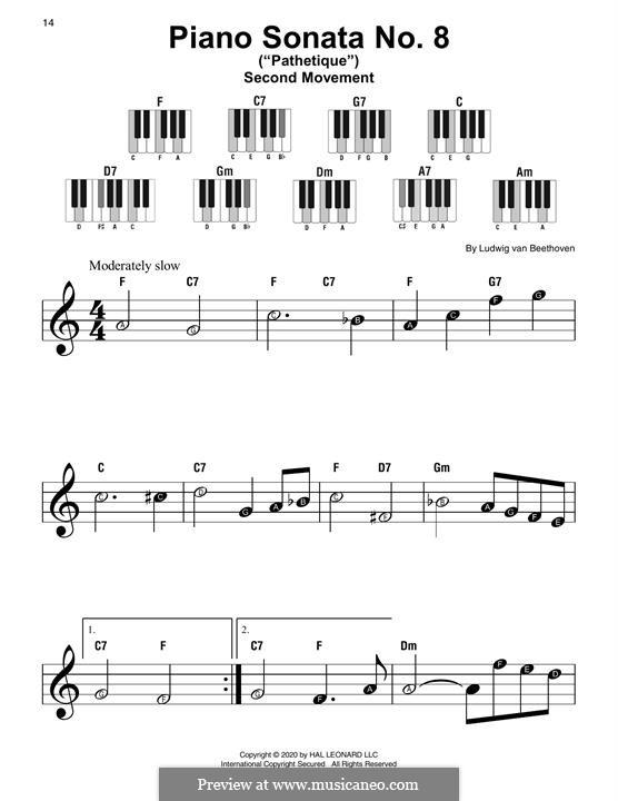 Movement II (Printable scores): tema by Ludwig van Beethoven