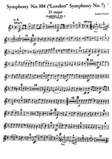 Symphony No.104 in D Major 'London', Hob.I/104: clarinete parte II by Joseph Haydn