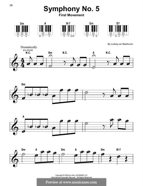 Movement I: Excerpt, for piano by Ludwig van Beethoven