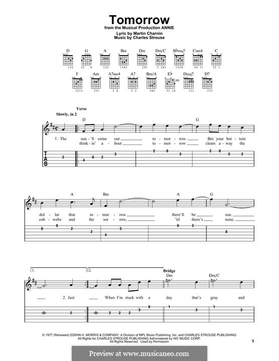 Tomorrow (from Annie): Para Guitarra by Charles Strouse