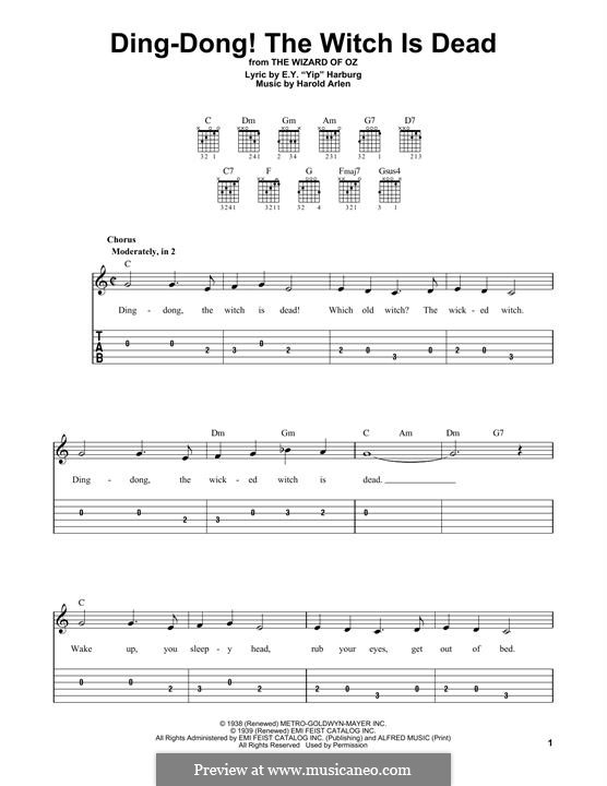 Ding-dong! The Witch Is Dead (from The Wizard of Oz): Para Guitarra by Harold Arlen