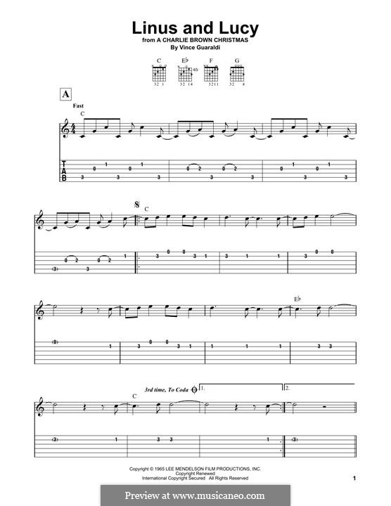 Linus and Lucy (from A Boy Named Charlie Brown): Para Guitarra by Vince Guaraldi