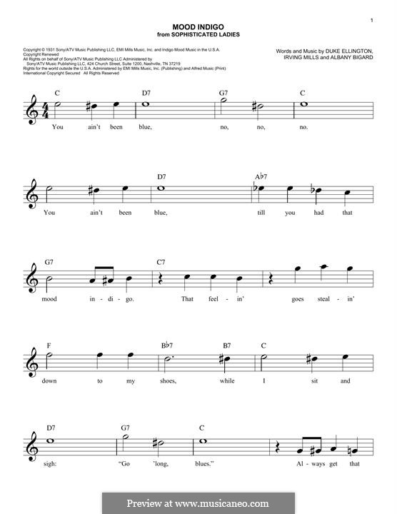 Mood Indigo: For keyobard by Irving Mills, Albany Bigard, Duke Ellington