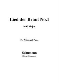 No.11 Lied der Braut (Bride's Song): G maior by Robert Schumann