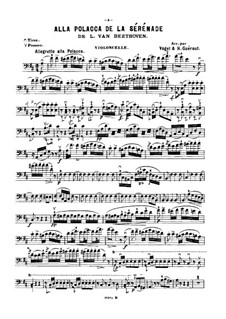 String Trio No.2 in D Major 'Serenade', Op.8: Movement IV, for violin (or cello, or flute) and piano – cello part by Ludwig van Beethoven