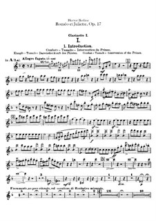 Roméo et Juliette (Romeo and Juliet), H.79 Op.17: parte clarinetas by Hector Berlioz
