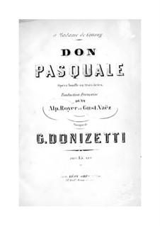 Don Pasquale: Partitura Piano-vocal by Gaetano Donizetti