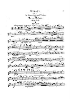Sonata for Violin and Piano No.4 in G Major, Op.102: Parte de solo by Hans Huber
