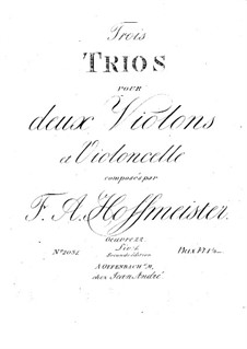 Three String Trios, Op.22: parte violoncelo by Franz Anton Hoffmeister