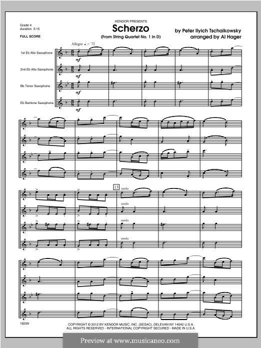 String Quartet No.1 in D Major, TH 111 Op.11: Scherzo, for quartet saxophones – full score by Pyotr Tchaikovsky