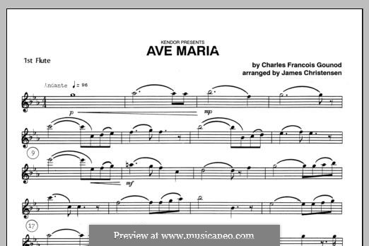 Ave Maria (Printable Sheet Music): For trio flutes – Flute 1 part by Johann Sebastian Bach, Charles Gounod