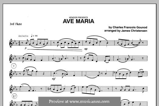 Ave Maria (Printable Sheet Music): For trio flutes – Flute 3 part by Johann Sebastian Bach, Charles Gounod
