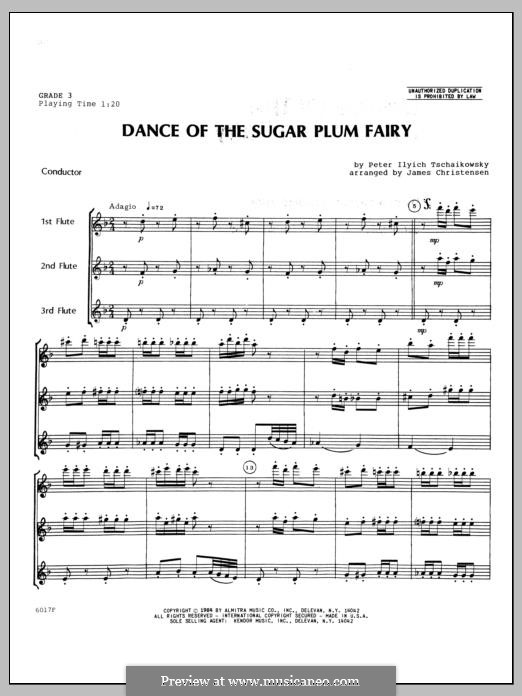 No.3 Dance of the Sugar-Plum Fairy: For trio flutes – full score by Pyotr Tchaikovsky