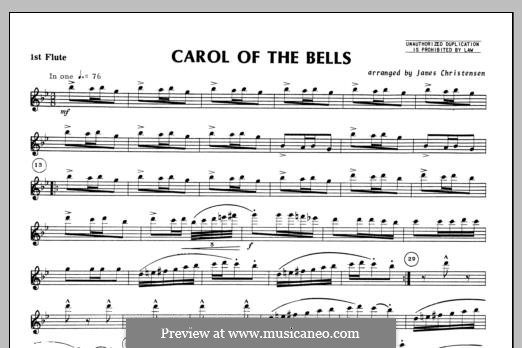 Carol of the Bells: For trio flutes – Flute 1 part by folklore