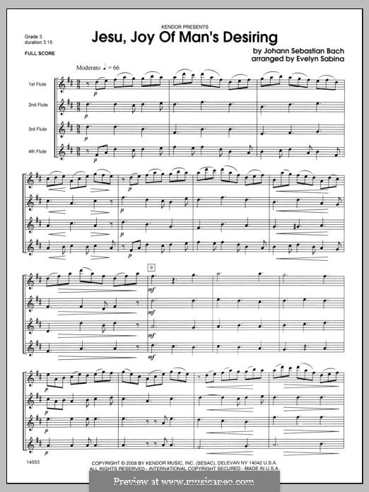 Jesu, Joy of Man's Desiring (Printable Scores): For flutes quartet – full score by Johann Sebastian Bach