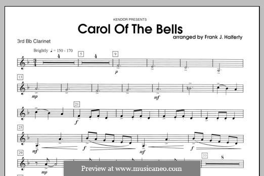 Carol of the Bells: For clarinets - Clarinet 3 part by folklore