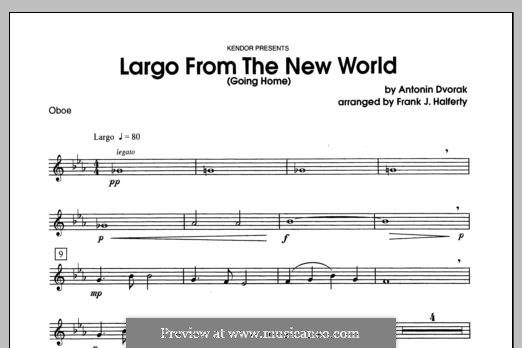 Movement II (Largo) Printable Scores: For winds - Oboe part by Antonín Dvořák