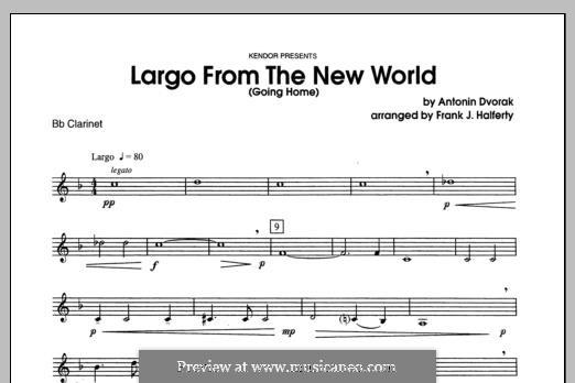 Movement II (Largo) Printable Scores: For winds - Bb Clarinet part by Antonín Dvořák