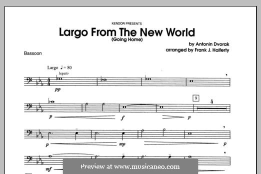 Movement II (Largo) Printable Scores: For winds - Bassoon part by Antonín Dvořák